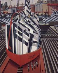 E Wadsworth Painting of Dazzle-ships in Drydock at Liverpool, 1919
