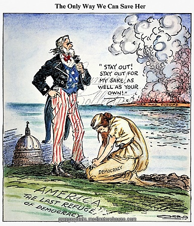 CARTOON: U.S. INTERVENTION. The Only Way We Can Save Her [Democracy]: American cartoon, 1939, by Carey Orr against U.S. intervention in European wars.