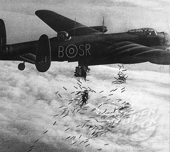 RAF plane dropping bombs over Duisburg, Germany, 15 October 1944