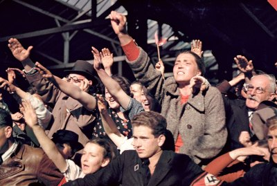 06 Crowds cheering Adolf Hitler's campaign to unite Austria and Germany, 1938